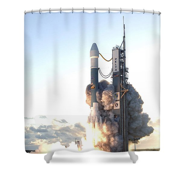 The Delta II Rocket Lifts Shower Curtain by Stocktrek Images