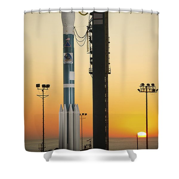 The Delta II Rocket On Its Launch Pad Shower Curtain by Stocktrek Images