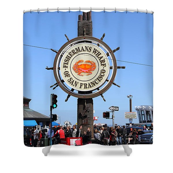 The Fishermans Wharf Sign . San Francisco California . 7d14225 Shower Curtain by Wingsdomain Art and Photography