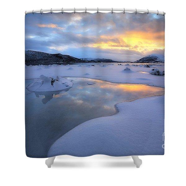 The Fjord Of Tjeldsundet In Troms Shower Curtain by Arild Heitmann