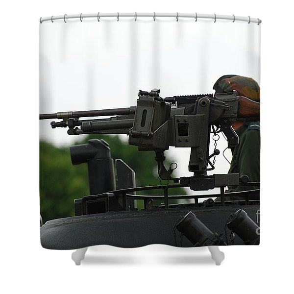 The Fn Mag Gun On The Turret Shower Curtain by Luc De Jaeger