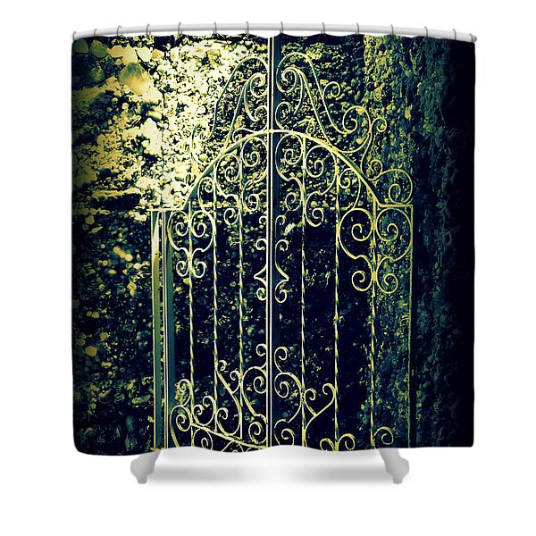 The Gate In The Grotto Of The Redemption Iowa Shower Curtain by Susanne Van Hulst
