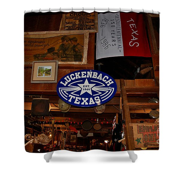 The General Store in Luckenbach TX Shower Curtain by Susanne Van Hulst