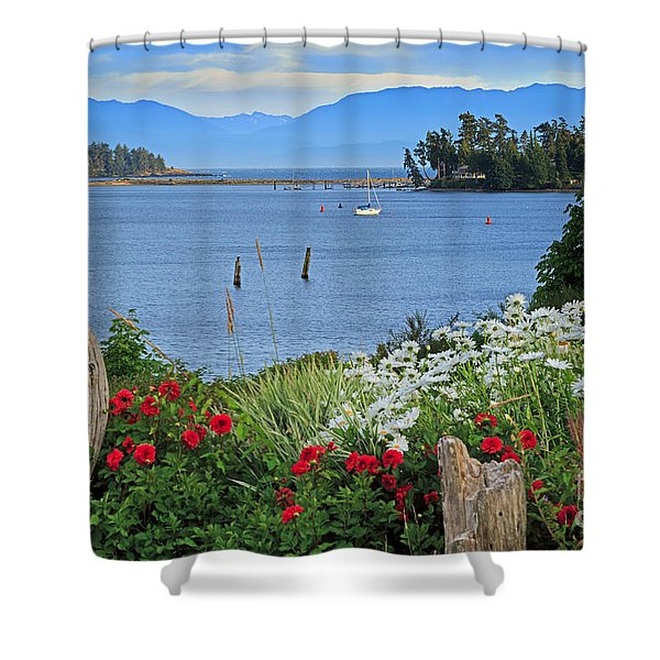 The Harbor At Sooke Shower Curtain by Louise Heusinkveld