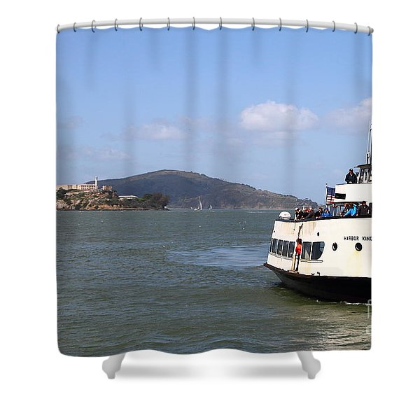 The Harbor King Ferry Boat On The San Francisco Bay With Alcatraz Island In The Distance . 7d14355 Shower Curtain by Wingsdomain Art and Photography