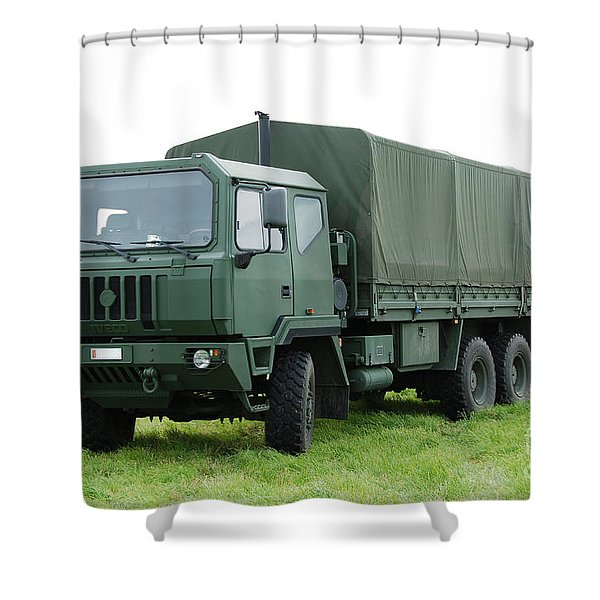 The Iveco M250 Used By The Belgian Army Shower Curtain by Luc De Jaeger