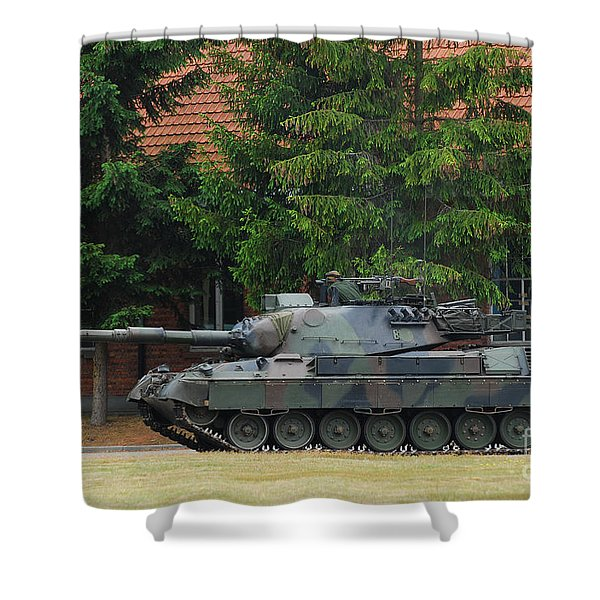 The Leopard 1a5 Main Battle Tank In Use Shower Curtain by Luc De Jaeger
