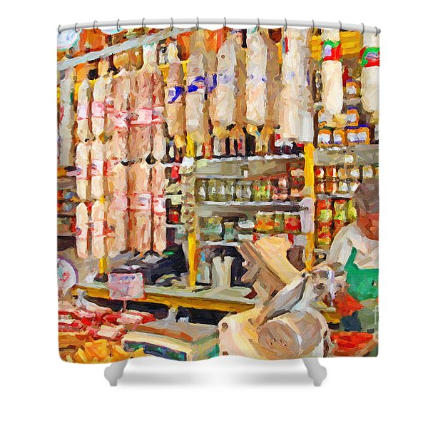 The Local Deli Shower Curtain by Wingsdomain Art and Photography
