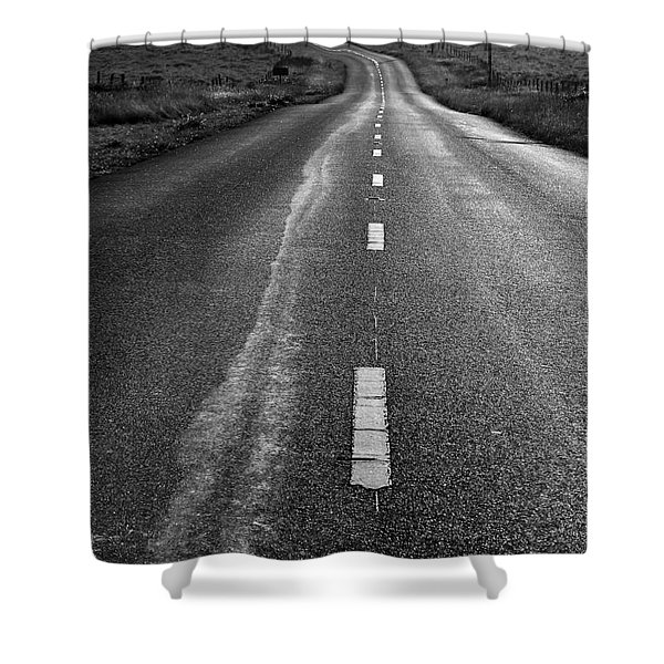 The Long Road Home . 7D9898 . Black and White Shower Curtain by Wingsdomain Art and Photography