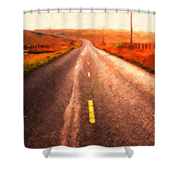 The Long Road Home . Painterly Style . Wide Size Shower Curtain by Wingsdomain Art and Photography
