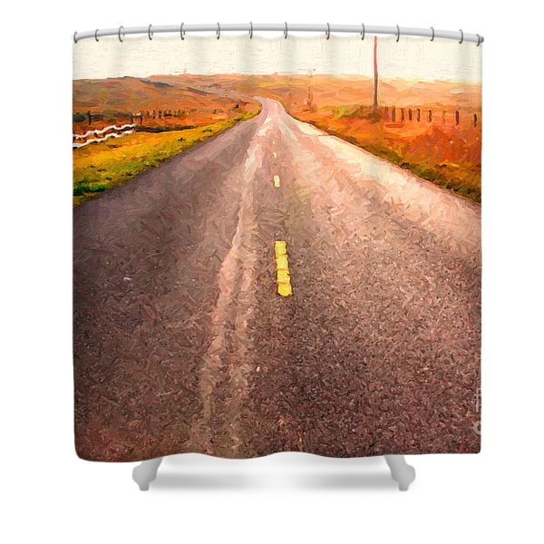 The Long Road Home . Painterly Style Shower Curtain by Wingsdomain Art and Photography