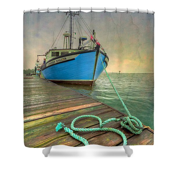 The Lurcher Digger Shower Curtain by Debra and Dave Vanderlaan