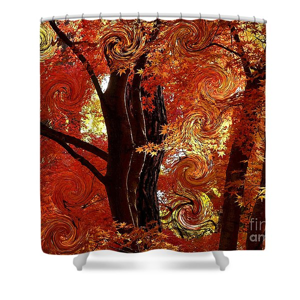 The Magic of Autumn - Digital Abstract Shower Curtain by Carol Groenen