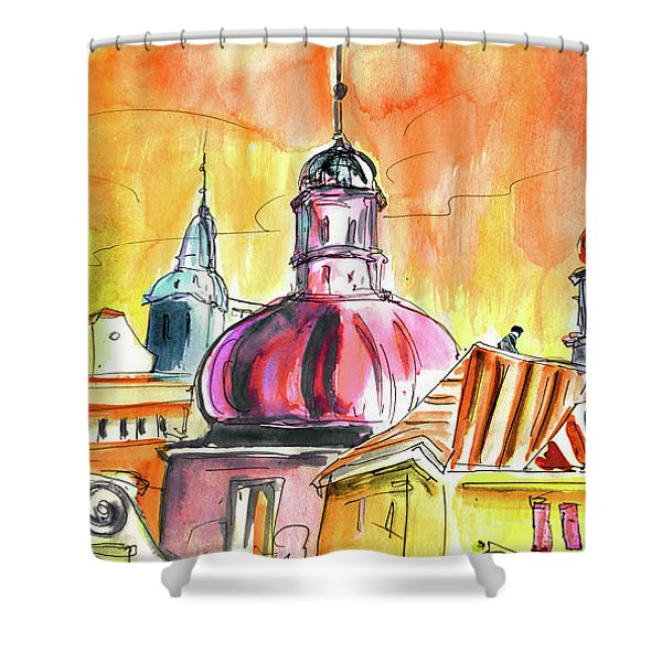 The Magical Roofs Of Prague 01 Bis Shower Curtain by Miki De Goodaboom