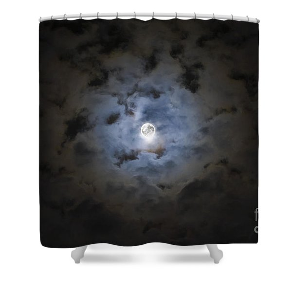 The Moon Covered By A Layer Of Clouds Shower Curtain by Miguel Claro