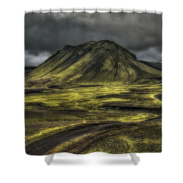 The Mountain Pass Shower Curtain by Evelina Kremsdorf