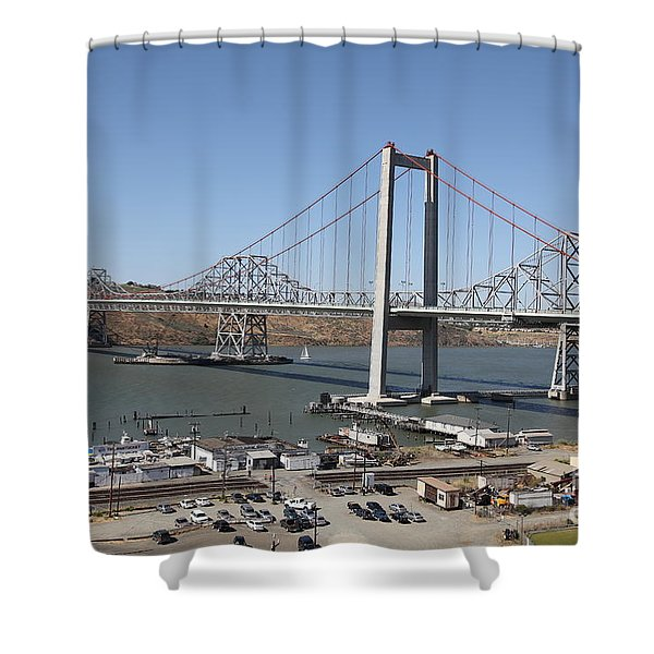 The New Alfred Zampa Memorial Bridge And The Old Carquinez Bridge . 5d16798 Shower Curtain by Wingsdomain Art and Photography