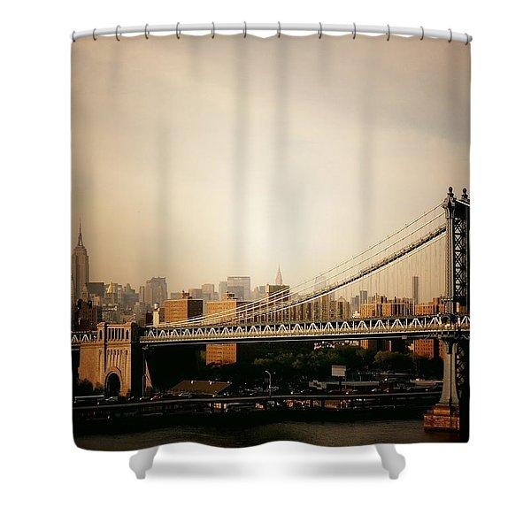 The New York City Skyline And Manhattan Bridge At Sunset Shower Curtain by Vivienne Gucwa