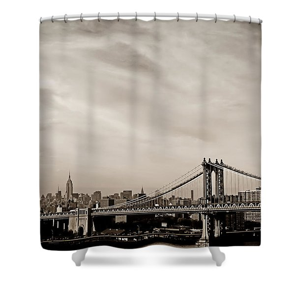 The New York City Skyline And The Manhattan Bridge Shower Curtain by Vivienne Gucwa