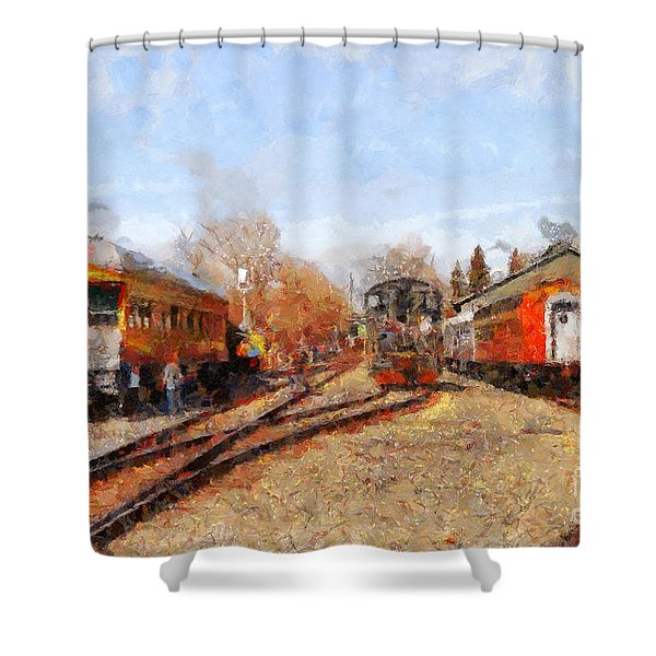 The Old Sacramento Central Train Depot . 7d11513 Shower Curtain by Wingsdomain Art and Photography