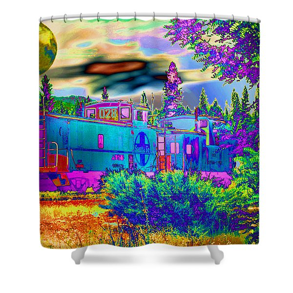 The Old Santa Fe Shower Curtain by Joyce Dickens