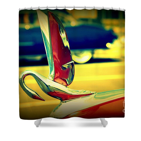 The Packard Swan Shower Curtain by Susanne Van Hulst