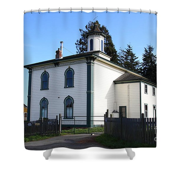 The Potter School House . Bodega Bay . Town of Bodega . California . 7D12472 Shower Curtain by Wingsdomain Art and Photography