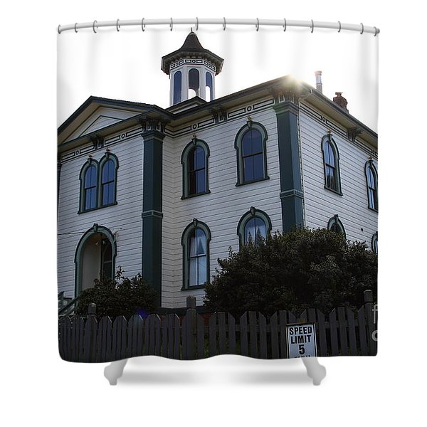 The Potter School House . Bodega Bay . Town of Bodega . California . 7D12477 Shower Curtain by Wingsdomain Art and Photography