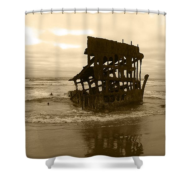 The Remains Of A Ship Shower Curtain by Kym Backland