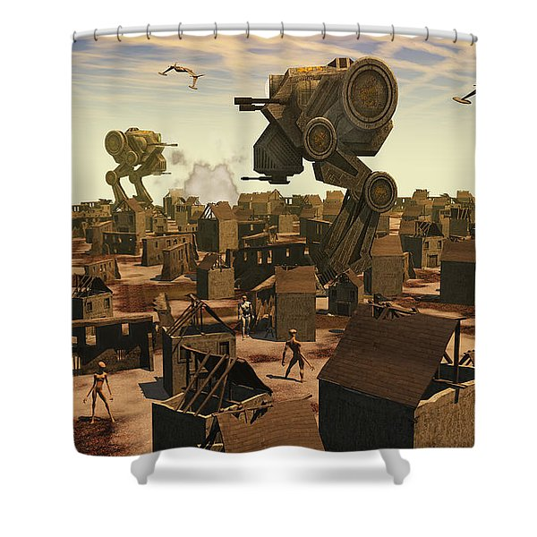 The Ruins Of An Earth Type Environment Shower Curtain by Mark Stevenson