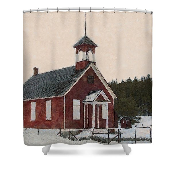 The School House Painterly Shower Curtain by Ernie Echols