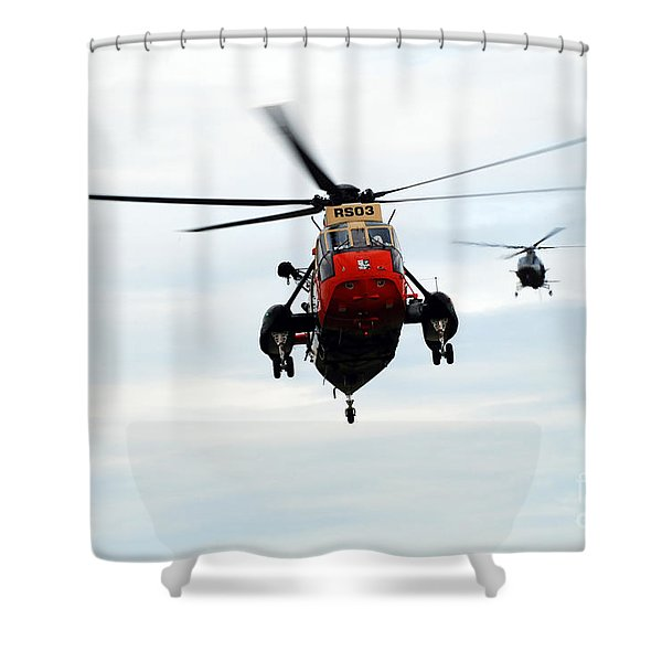 The Sea King Helicopter And The Agusta Shower Curtain by Luc De Jaeger
