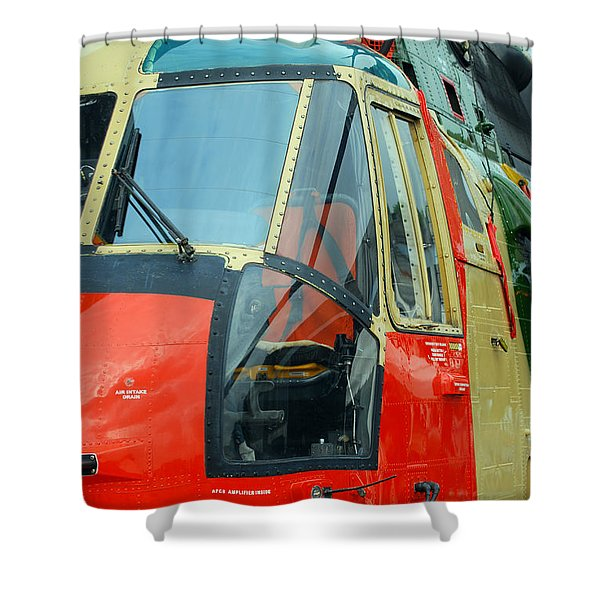 The Sea King Helicopter Used Shower Curtain by Luc De Jaeger
