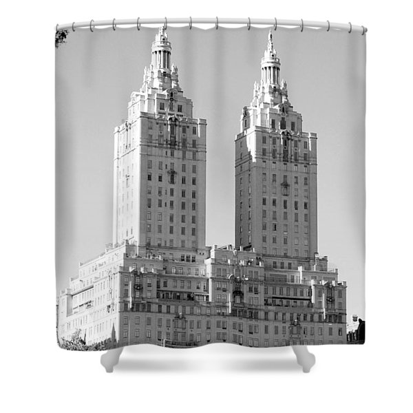 The Towers In Black And White Shower Curtain by Rob Hans