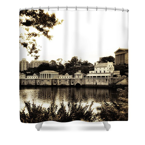 The Waterworks in Sepia Shower Curtain by Bill Cannon