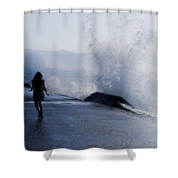 The Wave Shower Curtain by Joana Kruse
