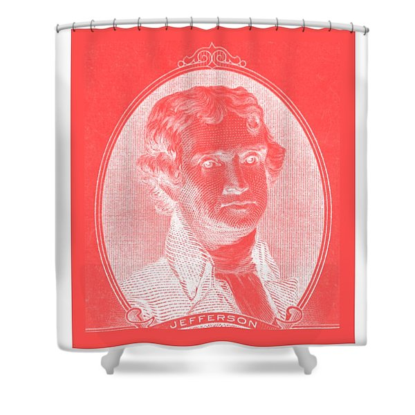 THOMAS JEFFERSON in NEGATIVE RED Shower Curtain by ROB HANS