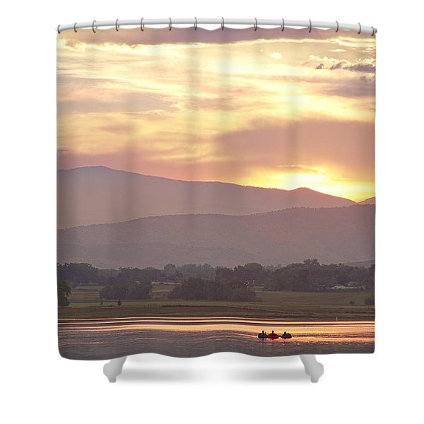 Three Belly Boats Golden Scenic View Shower Curtain by James BO  Insogna
