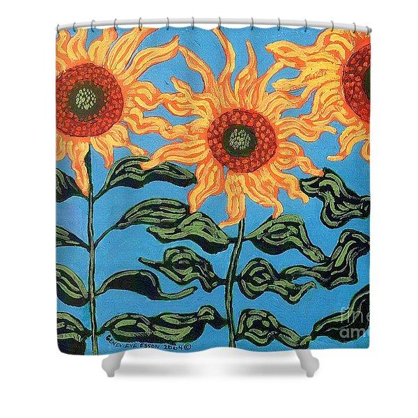 Three Sunflowers II Shower Curtain by Genevieve Esson