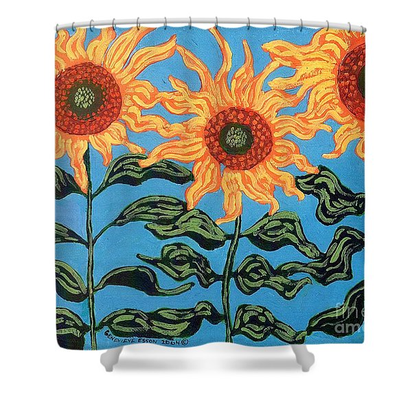 Three Sunflowers III Shower Curtain by Genevieve Esson