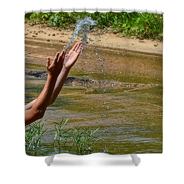 Throwing Water I Shower Curtain by Debbie Portwood