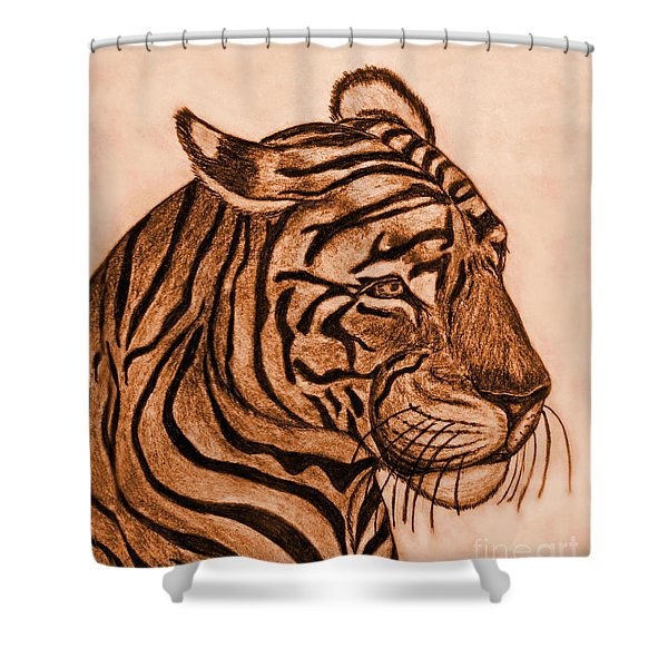 Tiger IIi Shower Curtain by Debbie Portwood