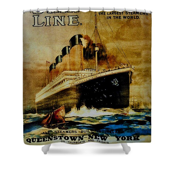 Titanic - White Star Line Shower Curtain by Bill Cannon