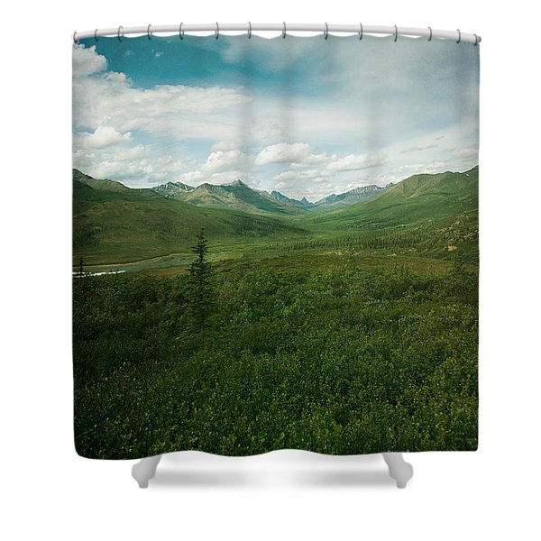 Tombstone Mountain Shower Curtain by Priska Wettstein