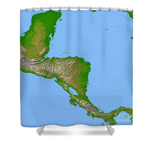 Topographic View Of Central America Shower Curtain by Stocktrek Images