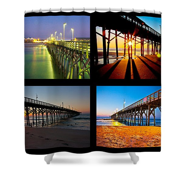 Topsail Piers at Sunrise Shower Curtain by Betsy C  Knapp