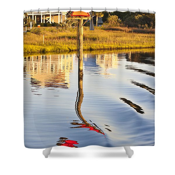 Topsail Sound Sunset Shower Curtain by Betsy C  Knapp