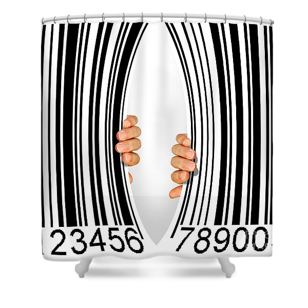 Torn Bar Code Shower Curtain by Carlos Caetano