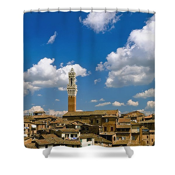 Torre De Mangia And Siena Skyline Shower Curtain by Axiom Photographic
