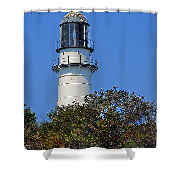 Tower Of East Light Of Two Lights Shower Curtain by Nancy Griswold